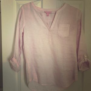 Tops - Lilly Pulitzer Pink Linen 3/4 sleeve tab top XS